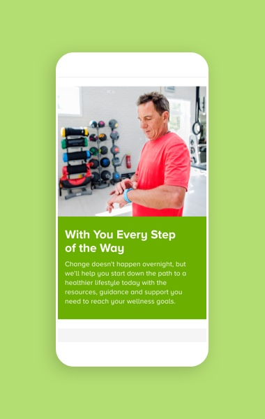 ActiveHealth Every Step Of The Way screen on mobile
