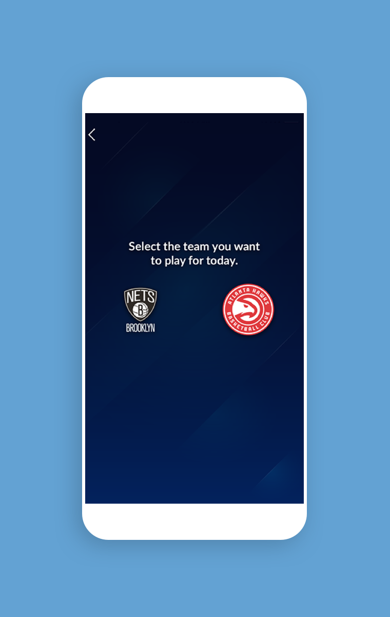 NBA InPlay - Select the team you want to play