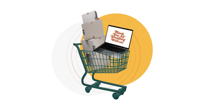 Shopping basket filled with boxes