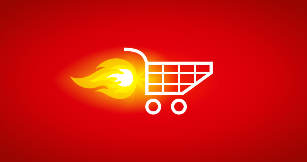 Shopping Cart with flaming engine